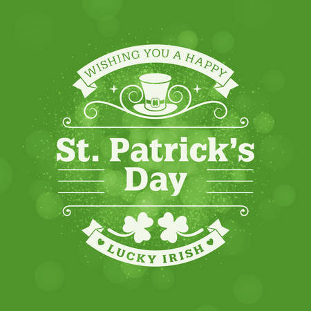 patricks: St. Patricks Day vintage holiday badge design. Vector design greetings card or poster with blurred green backdrop. Text is outlined