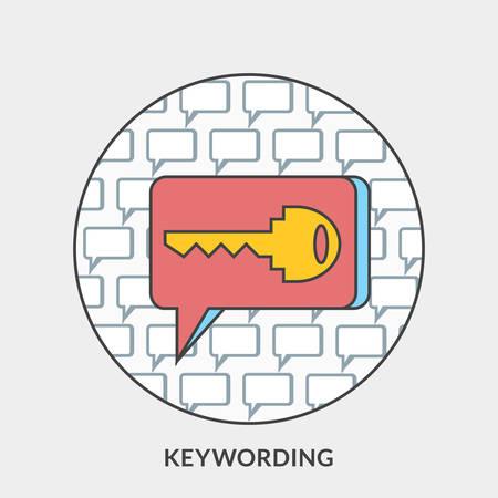 keywording: Flat design concept for Keywording. Vector illustration for web banners and promotional materials