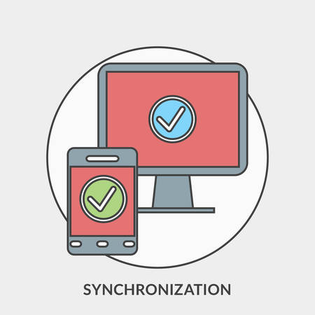 synchronization: Flat design concept for Synchronization. Vector illustration for web banners and promotional materials
