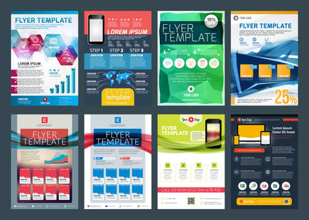 Set of abstract vector business flyer brochure design template Stock Vector - 36827379
