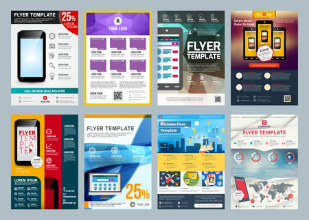 catalog templates: Set of abstract vector business flyer brochure design template