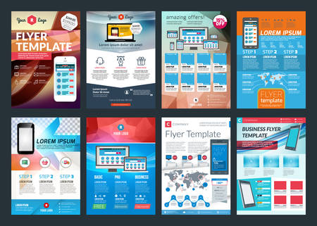 brochure design: Set of abstract vector business flyer brochure design template