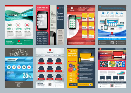 Set of abstract vector business flyer brochure design template