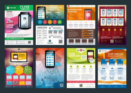 sjabloon: Set van abstracte vector zakelijke flyer brochure ontwerp sjabloon