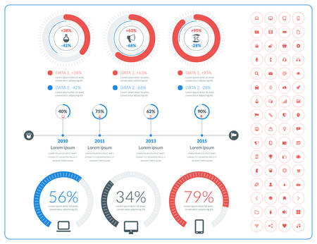 bar graph: Vector abstract infographic design in flat style with icon set Illustration