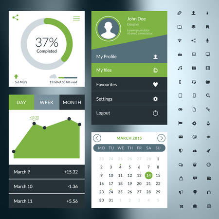 Set of flat design UI elements for website and mobile applications Vector