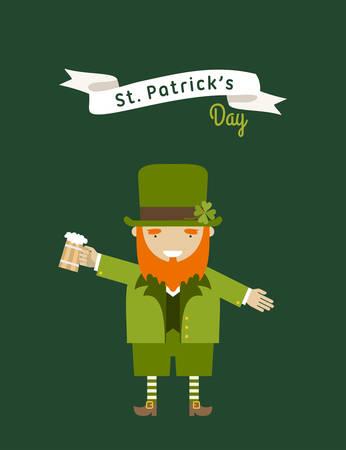 leafed: St. Patricks Day card design. Vintage holiday badge design. Leprechaun