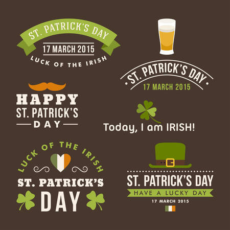 st  patrick day: Set of St. Patricks Day card design. Vintage holiday badge design Illustration