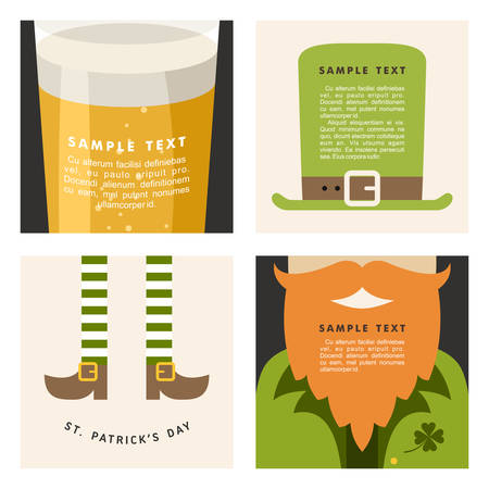 leafed: Set of St. Patricks Day vector illustrations. Vintage holiday badge design