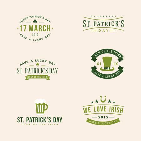 st: Set of St. Patricks Day card design. Vintage holiday badge design Illustration