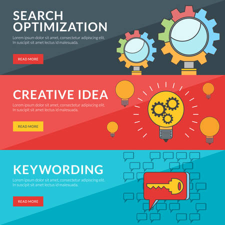 keywording: Flat design concept for seo, creative idea, keywording