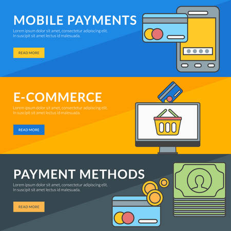 methods: Flat design concept for mobile payments, e-commerce, payment methods Illustration