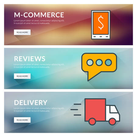 proposition: Flat design concept for m-commerce, reviews, delivery