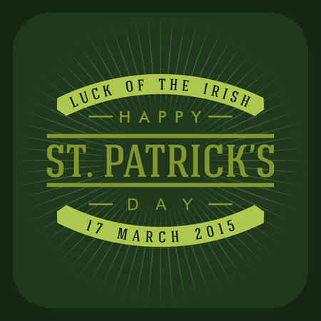 leafed: St. Patricks Day retro card design. Vintage holiday badge design