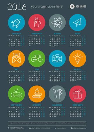 calendario julio: Calendario 2016 la plantilla de vectores decign. Semana comienza el lunes