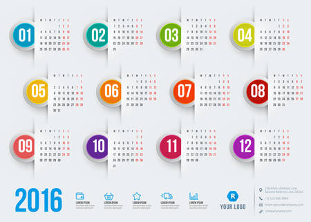 calendar october: Calendar 2016 vector decign template. Week starts Monday Illustration
