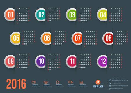 kalendarz: Kalendarz 2016 wektorowych decign szablonu. Tydzień zaczyna się niedziela
