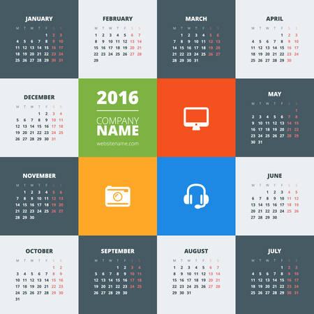 kalendarz: Kalendarz 2016 wektorowych decign szablonu. Tydzień zaczyna się w poniedziałek