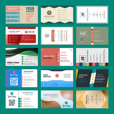clean background: Vector set of modern creative business cards