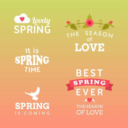 rain background: Spring typographic design. Set of labels and badges