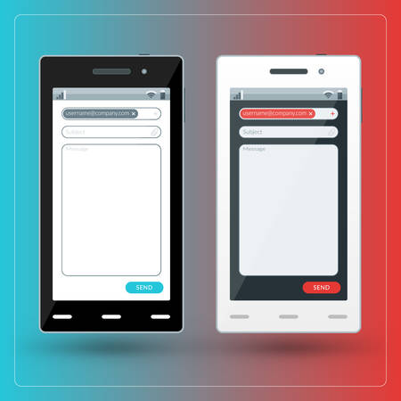 Modern smartphone with email app on the screen. Flat design template for mobile apps Illustration