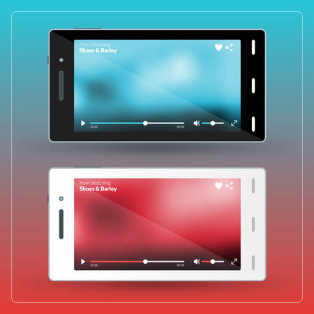 Modern smartphone with video player on the screen. Flat design template for mobile apps Illustration