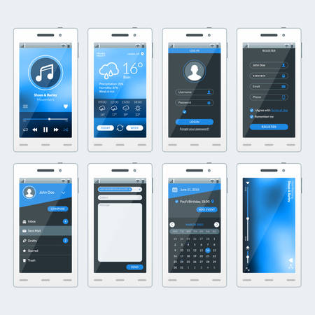 Set of vector illustrations of modern smartphone with apps. Flat design template for mobile apps Vector