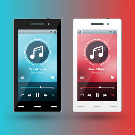scrollbar: Modern smartphone with musical player on the screen. Flat design template for mobile apps