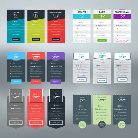 Set of vector pricing table in flat design style for websites and applications Çizim