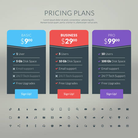 Vector pricing table in flat design style for websites and applications Иллюстрация