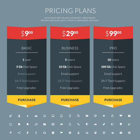 Vector pricing table in flat design style for websites and applications Vector