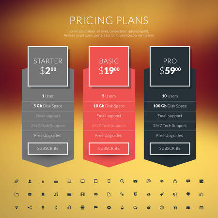 price: Vector pricing table in flat design style for websites and applications Illustration