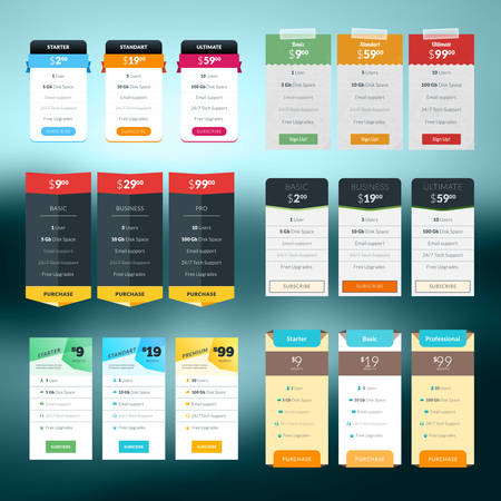 Set of vector pricing table in flat design style for websites and applications Иллюстрация