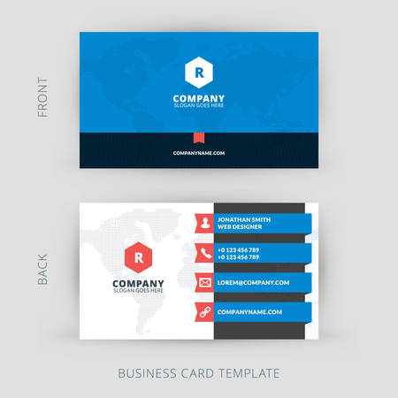 the information card: Vector modern creative and clean business card template. Flat design