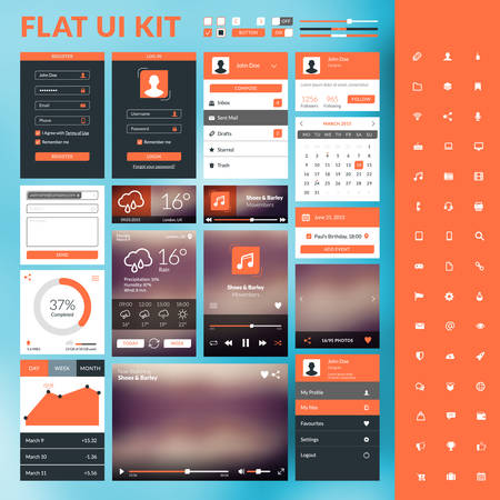 profile: Set of flat design UI elements for website and mobile applications