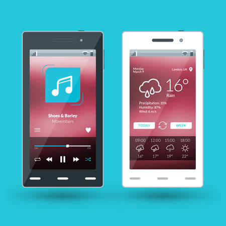 flat design template for mobile apps vector
