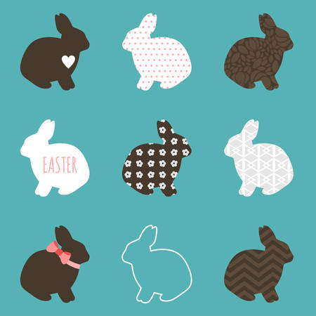 beautiful rabbit: Set of cute easter rabbits in white and brown colors Illustration