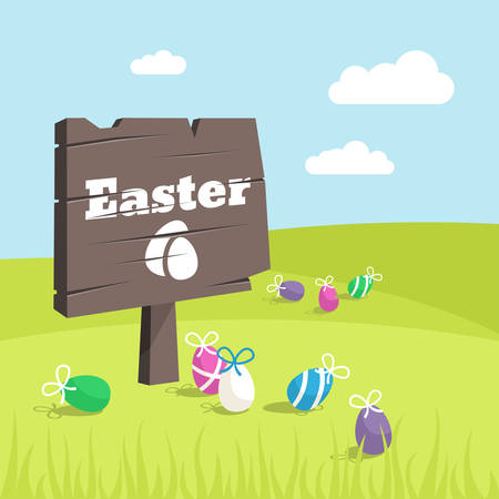 wooden plaque: Happy Easter Day holiday background. Wooden plaque with word Easter and Easter eggs on green meadow Illustration