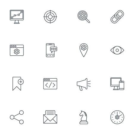keywording: Set of Thin Line SEO and Development Icons. Vector Illustration