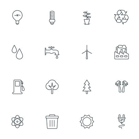 thin bulb: Set of Thin Line Ecology and Environment Icons. Vector Illustration