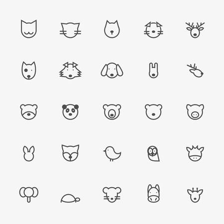 minimalistic: Set of Minimalistic Animal Line Icons. Vector Illustration