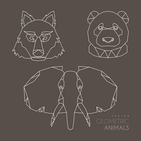 minimalistic: Set of Minimalistic Geometric Animal Vector Illustrations Illustration