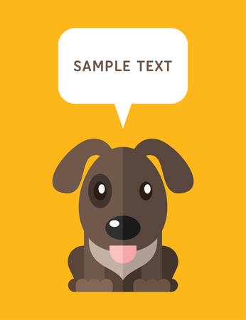 bubble speach: Cute Dog In Flat Design Style With Speach Bubble. Vector Illustration