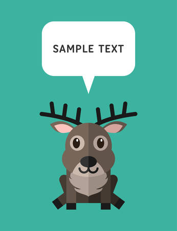 bubble speach: Cute Deer In Flat Design Style With Speach Bubble. Vector Illustration