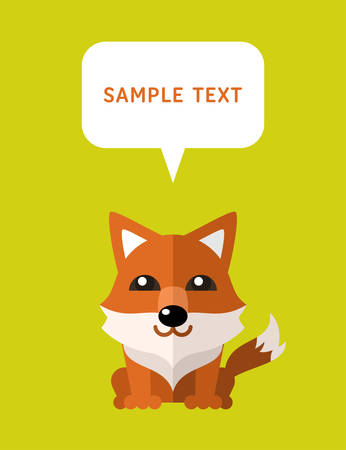 Cute Fox In Flat Design Style With Speach Bubble. Vector Illustration Vector