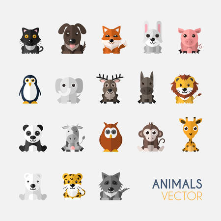 cute animals: Set of Cute Animals With Flat Design. Vector Illustration