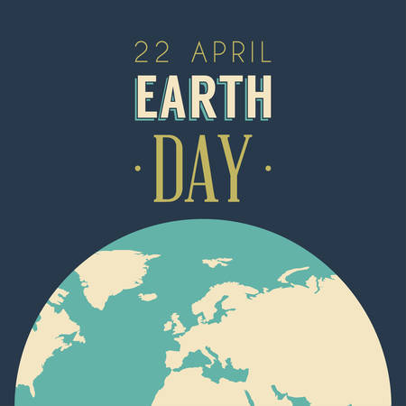 Vintage Earth Day Celebrating Card or Poster Design