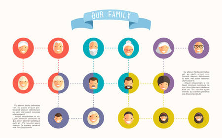 smile happy: Family tree with people avatars of generations flat vector illustration