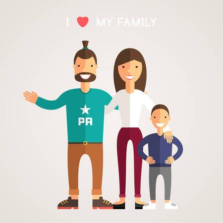 masculino: Happy Family Padres Hijo. Padre, madre, hijo. Amo a mi familia