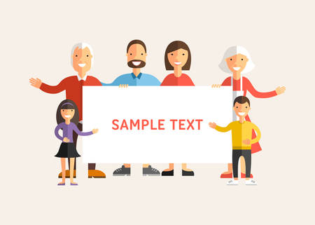 smile happy: Happy Family Holding a Banner. Flat Design Vector Illustration